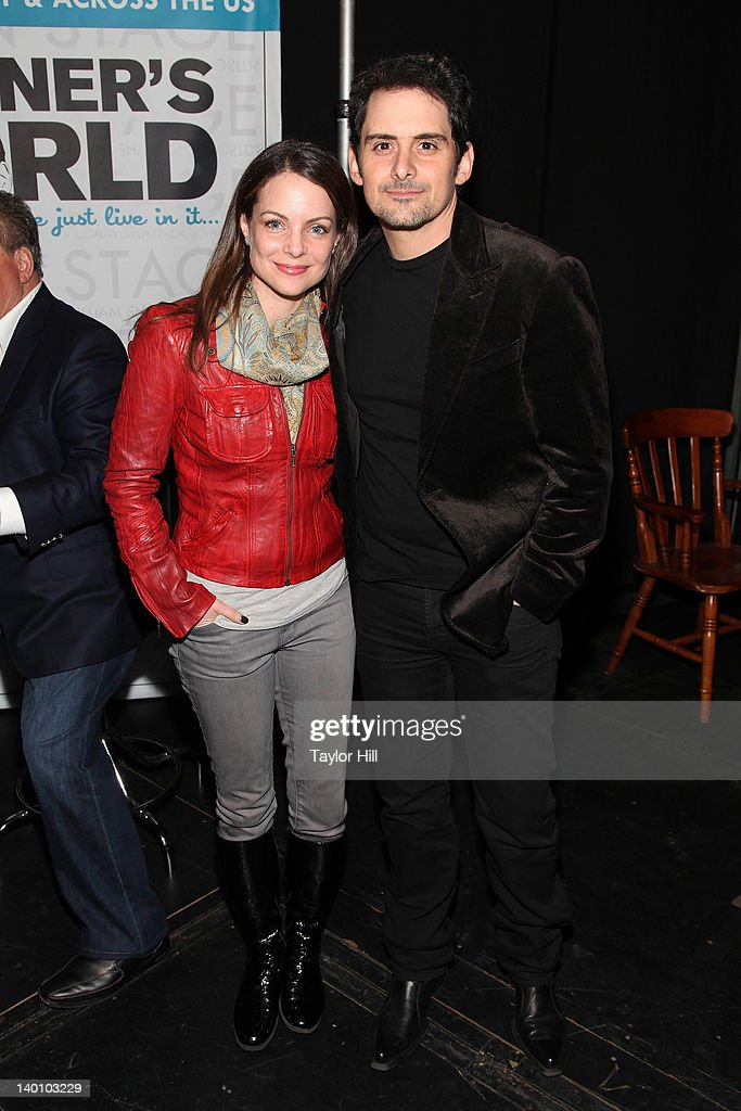 Kimberly Williams-Paisley and husband Brad Paisley attend a performance of 'Shatner's World: We Just Live In It' at the Music Box Theatre on February 27, 2012 in New York City.