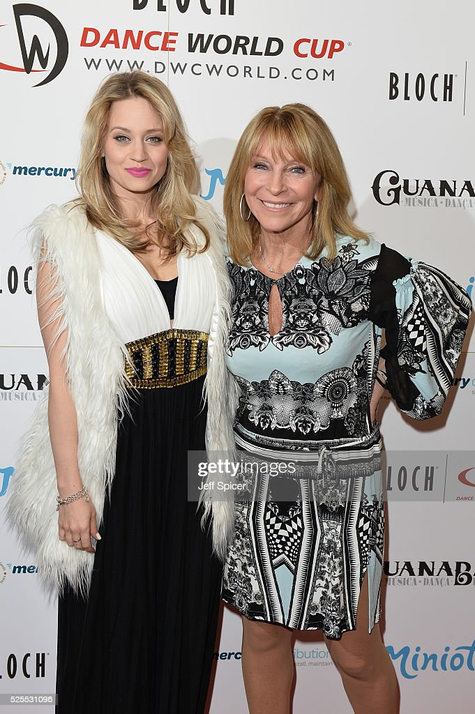 Kimberly Wyatt and Bonnie Lythgoe arrive at the launch of the 2016 annual BLOCH Dance World Cup on April 28, 2016 in London, England.