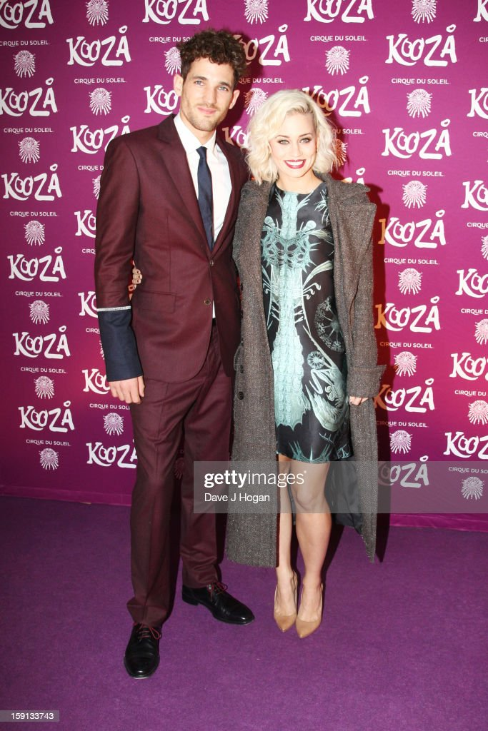 Kimberly Wyatt and Max Rogers attend the opening night of Cirque Du Soleil's 'Kooza' at Royal Albert Hall on January 8, 2013 in London, England.