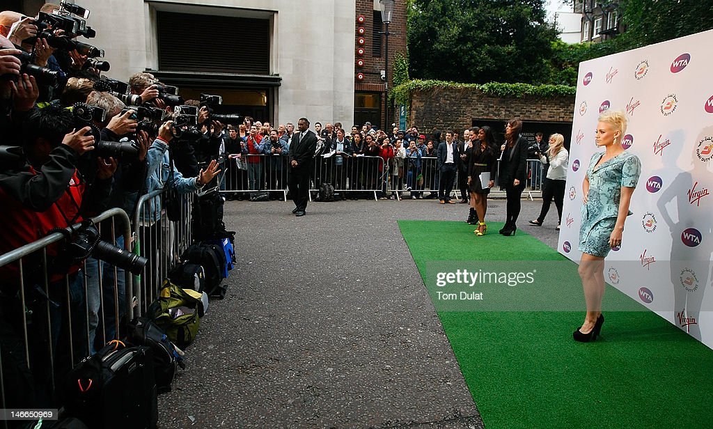 <a gi-track='captionPersonalityLinkClicked' href=/galleries/search?phrase=Kimberly+Wyatt&family=editorial&specificpeople=678958 ng-click='$event.stopPropagation()'>Kimberly Wyatt</a> arrives at the WTA Tour Pre-Wimbledon Party at The Roof Gardens, Kensington on June 21, 2012 in London, England.