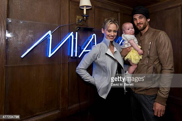 Kimberly Wyatt Max Rogers and their daugher Willow attend the Miami in London Party at Soho House on June 14 2015 in London England