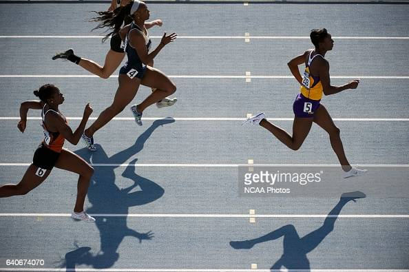 Kimberlyn Duncan of Louisiana State University leads the pack in the women's 200 meter dash during the Division I Men's and Women's Outdoor Track and...