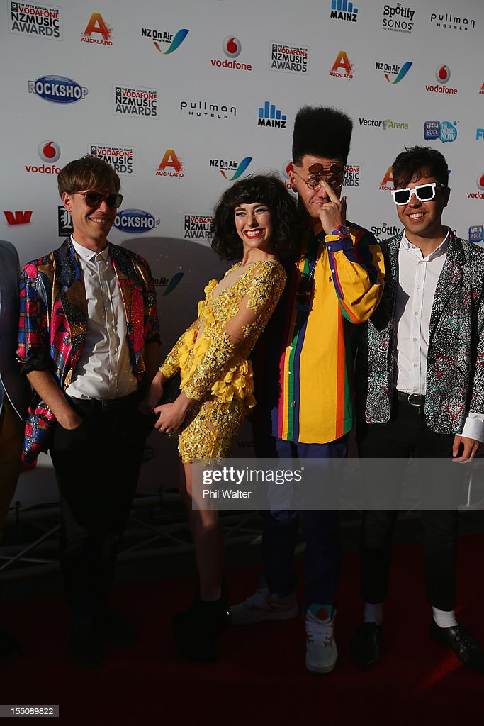 Kimbra (C) and her band arrive for the 2012 Vodafone New Zealand Music Awards at Vector Arena on November 1, 2012 in Auckland, New Zealand.