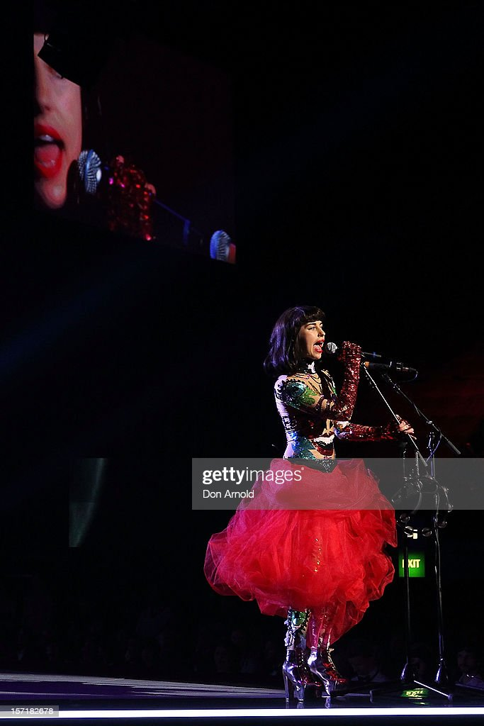 Kimbra performs on stage at the 26th Annual ARIA Awards 2012 at the Sydney Entertainment Centre on November 29, 2012 in Sydney, Australia.