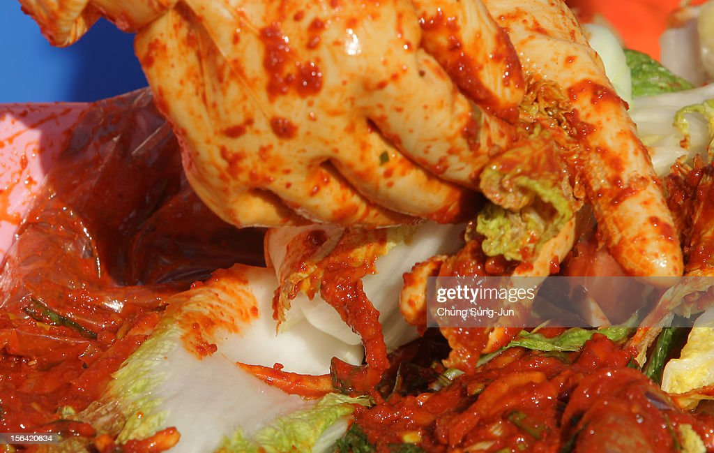 Kimchi for donation to the poor in preparation for winter in front of City Hall on November 15, 2012 in Seoul, South Korea. Kimchi is a traditional Korean dish of fermented vegetables usually mixed with chili and eaten with rice or served as a side dish to a main meal.