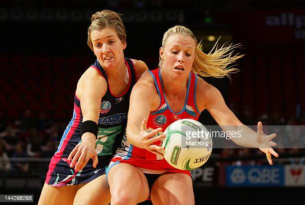 Kimerlee Green of the Swifts is challenged by Chelsey Tregear of the Vixens during the round seven ANZ Championship match between the Swifts and the...