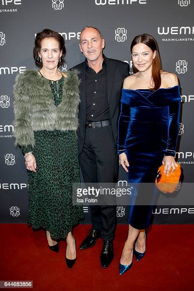 KimEva Wempe Dietmar Schuelein and german actress Hannah Herzsprung attend the Wempe store opening on February 23 2017 in Munich Germany