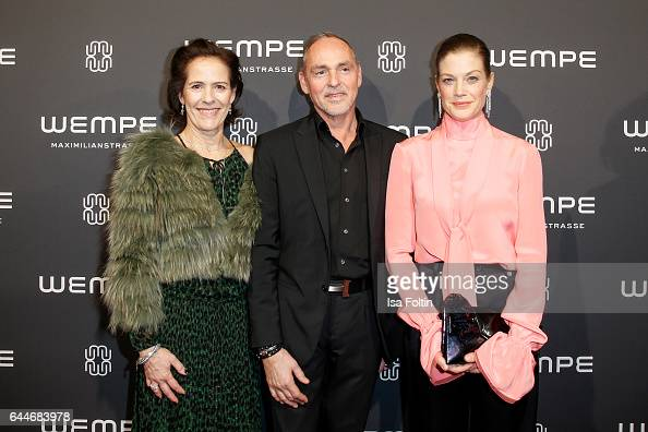 KimEva Wempe Dietmar Schuelein and german actress Marie Baeumer attend the Wempe store opening on February 23 2017 in Munich Germany