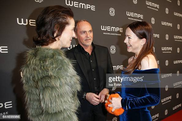 KimEva Wempe Dietmer Schuelein and german actress Hannah Herzsprung attend the Wempe store opening with the Rolls Royce shuttels in front of the...