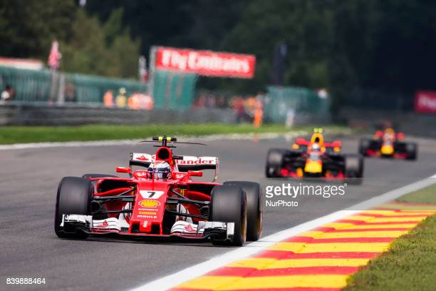 Kimi from Finland of scuderia Ferrari during the Formula One Belgian Grand Prix at Circuit de SpaFrancorchamps on August 27 2017 in Spa Belgium