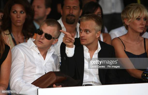 Kimi Raikkonen and Heikki Kovalainen arrives at the Grand Prix and Fashion Unite at The Amber Lounge Le Meridien Beach Plaza Hotel Monaco