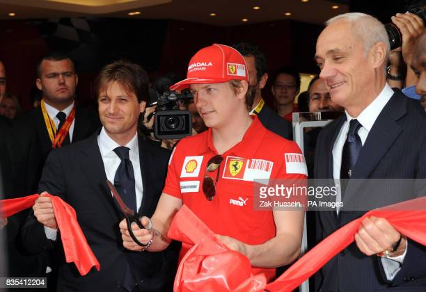Kimi Raikkonen cuts the ribbon to open the Ferrari Store on Regent Street central London