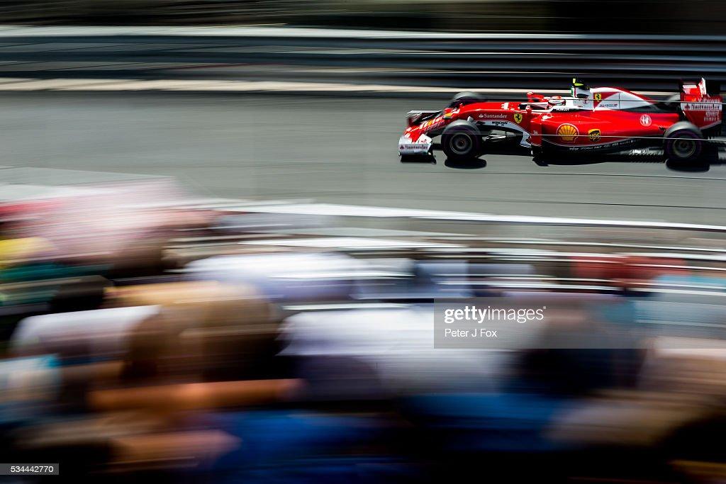 <a gi-track='captionPersonalityLinkClicked' href=/galleries/search?phrase=Kimi+Raikkonen&family=editorial&specificpeople=201904 ng-click='$event.stopPropagation()'>Kimi Raikkonen</a> of Ferrari and Finland during practice for the Monaco Formula One Grand Prix at Circuit de Monaco on May 26, 2016 in Monte-Carlo, Monaco.