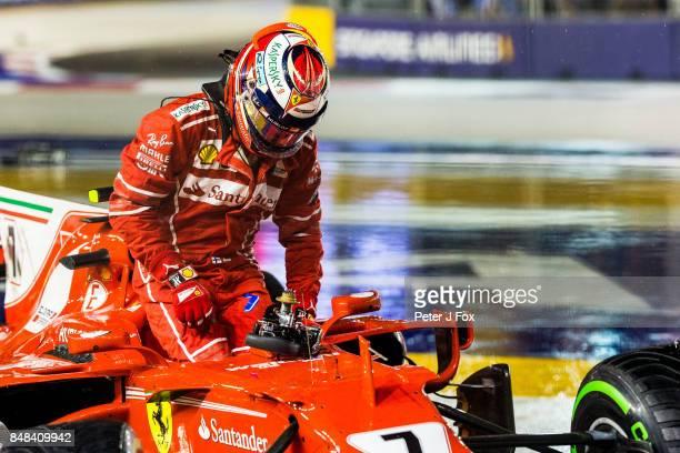Kimi Raikkonen of Ferrari and Finland during the Formula One Grand Prix of Singapore at Marina Bay Street Circuit on September 17 2017 in Singapore