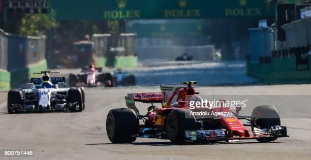 Kimi Raikkonen of Ferrari competes during the Azerbaijan Formula One Grand Prix at Baku City Circuit in Baku Azerbaijan on June 25 2017