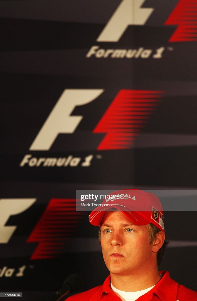 Kimi Raikkonen of Finland and Ferrari appears at the drivers press conference during previews prior to the Brazilian Formula One Grand Prix at the...