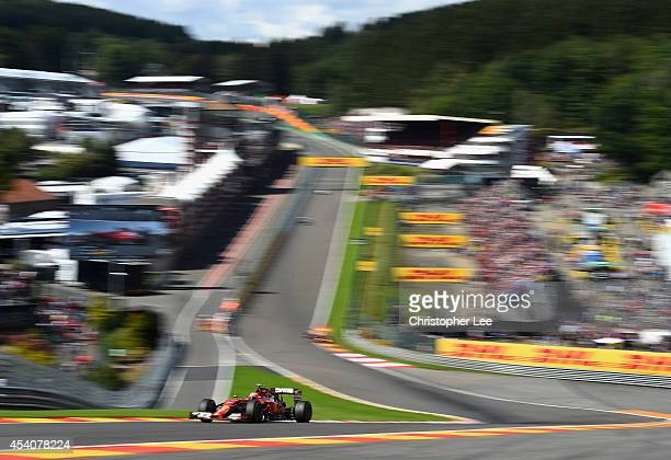 Kimi Raikkonen of Finland and Ferrari drives around Eau Rouge during the Belgium Grand Prix at Circuit de SpaFrancorchamps on August 24 2014 in Spa...