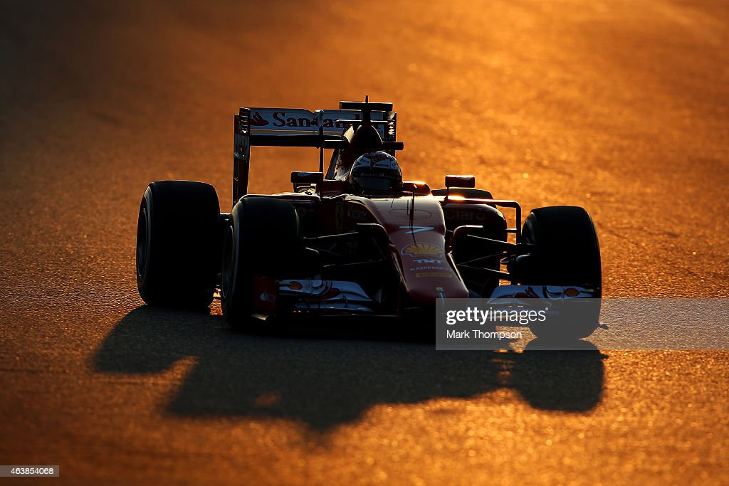 <a gi-track='captionPersonalityLinkClicked' href=/galleries/search?phrase=Kimi+Raikkonen&family=editorial&specificpeople=201904 ng-click='$event.stopPropagation()'>Kimi Raikkonen</a> of Finland and Ferrari drives during day one of Formula One Winter Testing at Circuit de Catalunya on February 19, 2015 in Montmelo, Spain.