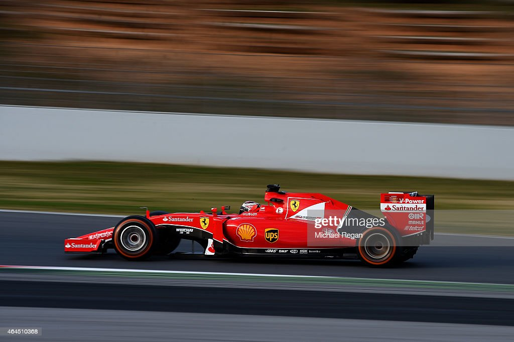 <a gi-track='captionPersonalityLinkClicked' href=/galleries/search?phrase=Kimi+Raikkonen&family=editorial&specificpeople=201904 ng-click='$event.stopPropagation()'>Kimi Raikkonen</a> of Finland and Ferrari drives during day one of the final Formula One Winter Testing at Circuit de Catalunya on February 26, 2015 in Montmelo, Spain.