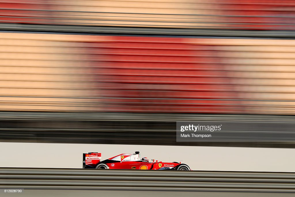 Kimi Raikkonen of Finland and Ferrari drives during day three of F1 winter testing at Circuit de Catalunya on February 24 2016 in Montmelo Spain