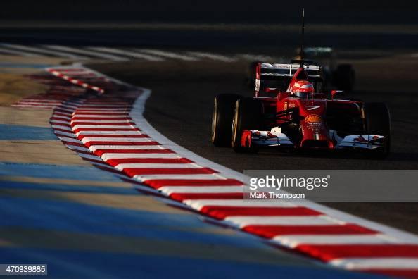 Kimi Raikkonen of Finland and Ferrari drives during day three of Formula One Winter Testing at the Bahrain International Circuit on February 21 2014...