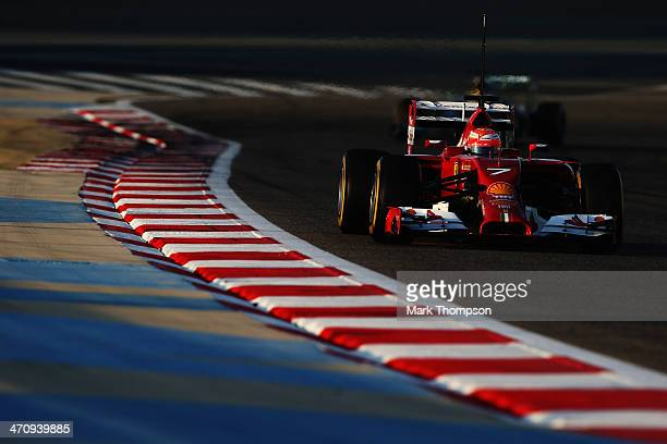 Kimi Raikkonen of Finland and Ferrari drives during day three of Formula One Winter Testing at the Bahrain International Circuit on February 21 2014...