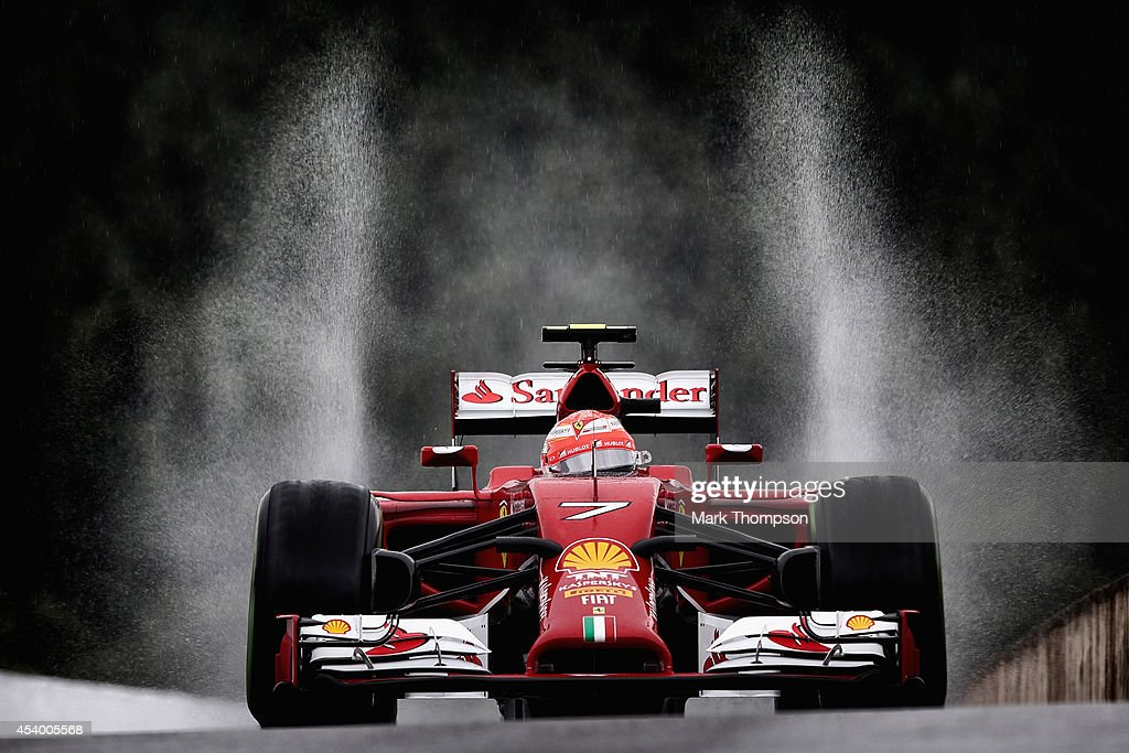 Kimi Raikkonen of Finland and Ferrari drives during final practice ahead of the Belgian Grand Prix at Circuit de SpaFrancorchamps on August 23 2014...