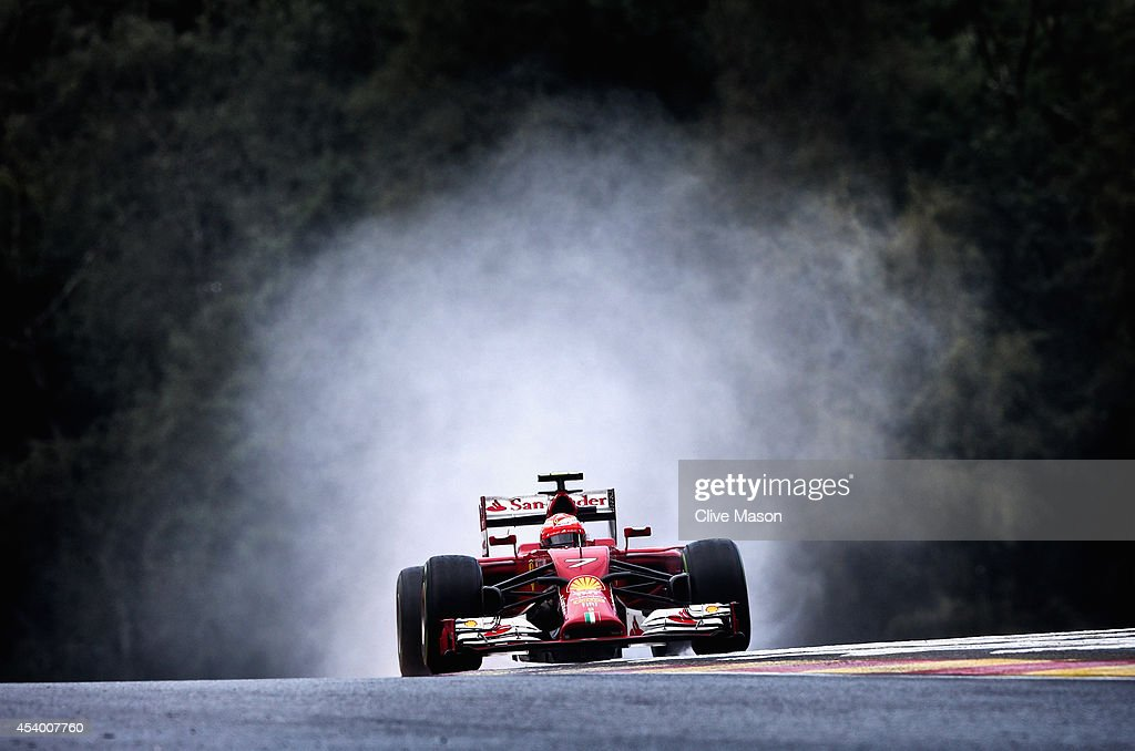 Kimi Raikkonen of Finland and Ferrari drives during final practice ahead of the Belgian Grand Prix at Circuit de Spa-Francorchamps on August 23, 2014 in Spa, Belgium.