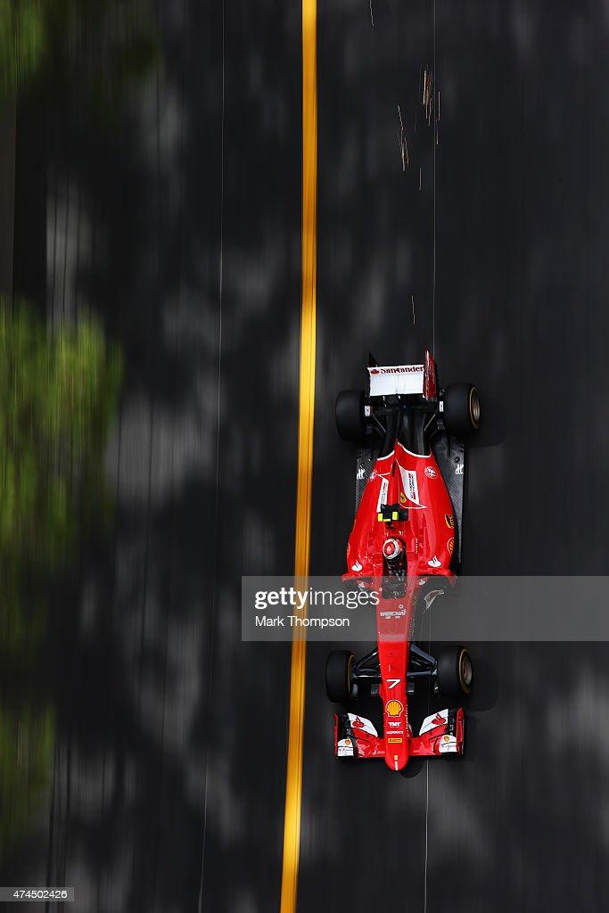 <a gi-track='captionPersonalityLinkClicked' href=/galleries/search?phrase=Kimi+Raikkonen&family=editorial&specificpeople=201904 ng-click='$event.stopPropagation()'>Kimi Raikkonen</a> of Finland and Ferrari drives during final practice for the Monaco Formula One Grand Prix at Circuit de Monaco on May 23, 2015 in Monte-Carlo, Monaco.