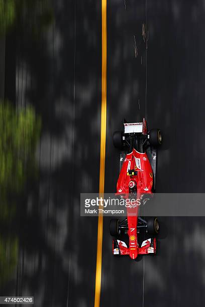Kimi Raikkonen of Finland and Ferrari drives during final practice for the Monaco Formula One Grand Prix at Circuit de Monaco on May 23 2015 in...