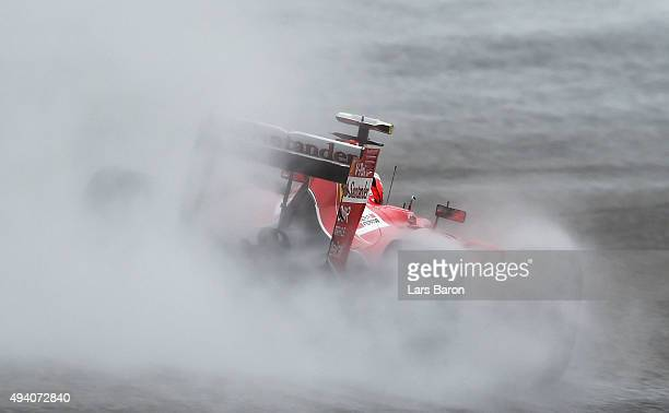 Kimi Raikkonen of Finland and Ferrari drives during final practice for the United States Formula One Grand Prix at Circuit of The Americas on October...