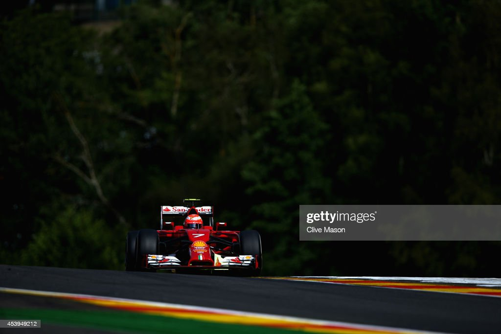 <a gi-track='captionPersonalityLinkClicked' href=/galleries/search?phrase=Kimi+Raikkonen&family=editorial&specificpeople=201904 ng-click='$event.stopPropagation()'>Kimi Raikkonen</a> of Finland and Ferrari drives during practice ahead of the Belgian Grand Prix at Circuit de Spa-Francorchamps on August 22, 2014 in Spa, Belgium.