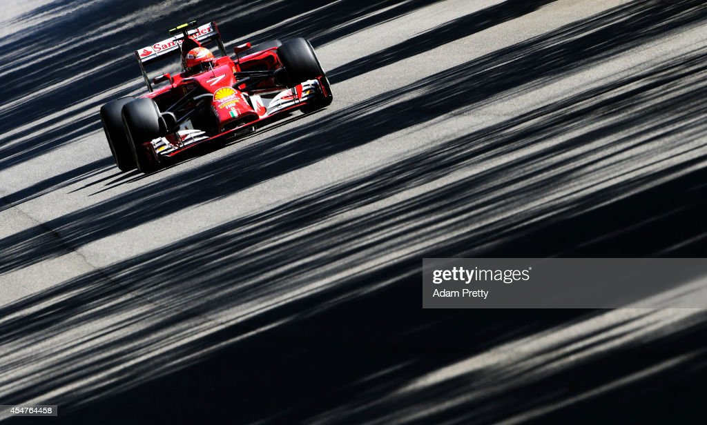 Kimi Raikkonen of Finland and Ferrari drives during Practice ahead of the F1 Grand Prix of Italy at Autodromo di Monza on September 6 2014 in Monza...
