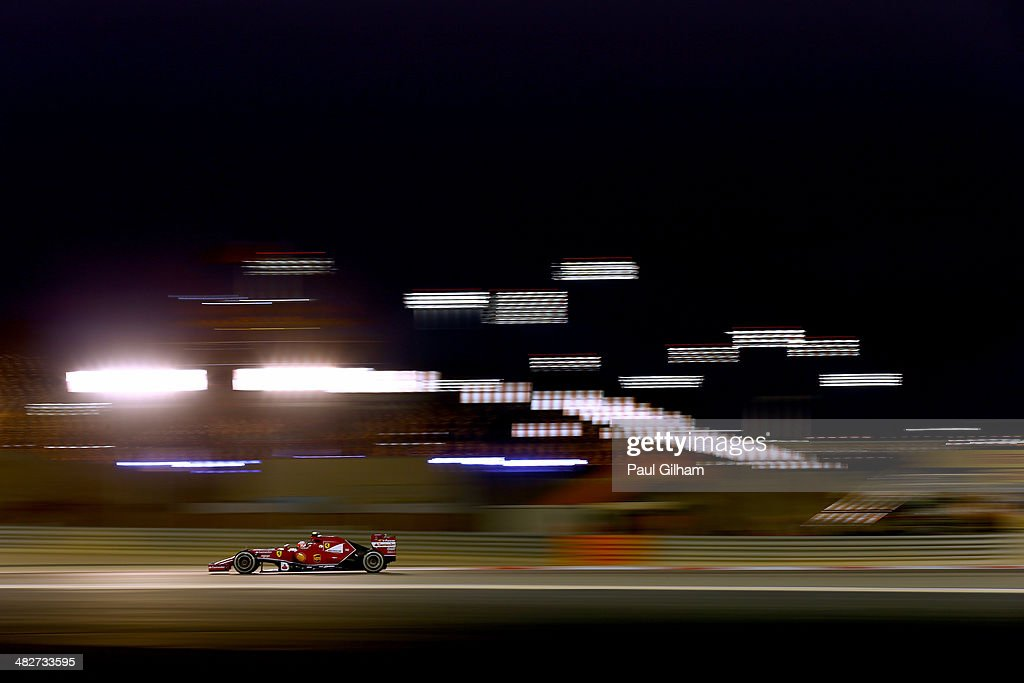 Kimi Raikkonen of Finland and Ferrari drives during practice for the Bahrain Formula One Grand Prix at the Bahrain International Circuit on April 4...