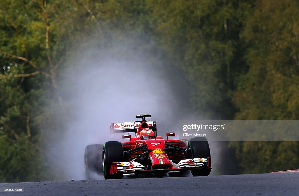 Kimi Raikkonen of Finland and Ferrari drives during qualifying ahead of the Belgian Grand Prix at Circuit de SpaFrancorchamps on August 23 2014 in...