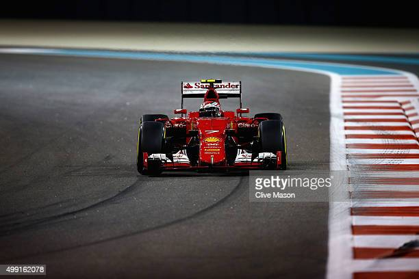 Kimi Raikkonen of Finland and Ferrari drives during the Abu Dhabi Formula One Grand Prix at Yas Marina Circuit on November 29 2015 in Abu Dhabi...