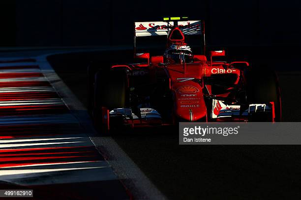 Kimi Raikkonen of Finland and Ferrari drives during the Abu Dhabi Formula One Grand Prix at Yas Marina Circuit on November 29 2015 in Abu Dhabi...