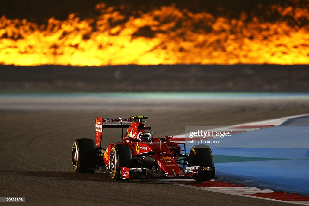 <a gi-track='captionPersonalityLinkClicked' href=/galleries/search?phrase=Kimi+Raikkonen&family=editorial&specificpeople=201904 ng-click='$event.stopPropagation()'>Kimi Raikkonen</a> of Finland and Ferrari drives during the Bahrain Formula One Grand Prix at Bahrain International Circuit on April 19, 2015 in Bahrain, Bahrain.