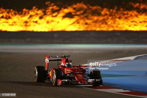 Kimi Raikkonen of Finland and Ferrari drives during the Bahrain Formula One Grand Prix at Bahrain International Circuit on April 19 2015 in Bahrain...