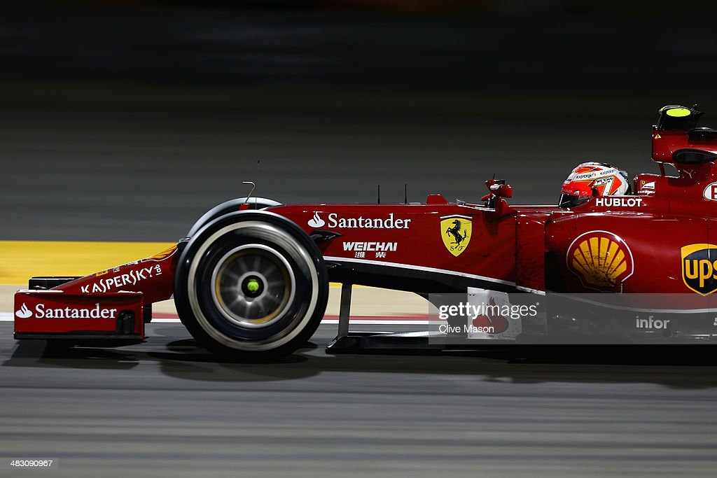 Kimi Raikkonen of Finland and Ferrari drives during the Bahrain Formula One Grand Prix at the Bahrain International Circuit on April 6, 2014 in Sakhir, Bahrain.