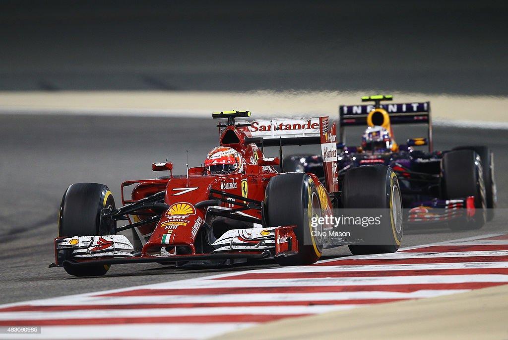 Kimi Raikkonen of Finland and Ferrari drives during the Bahrain Formula One Grand Prix at the Bahrain International Circuit on April 6, 2014 in Sakhir, Bahrain.