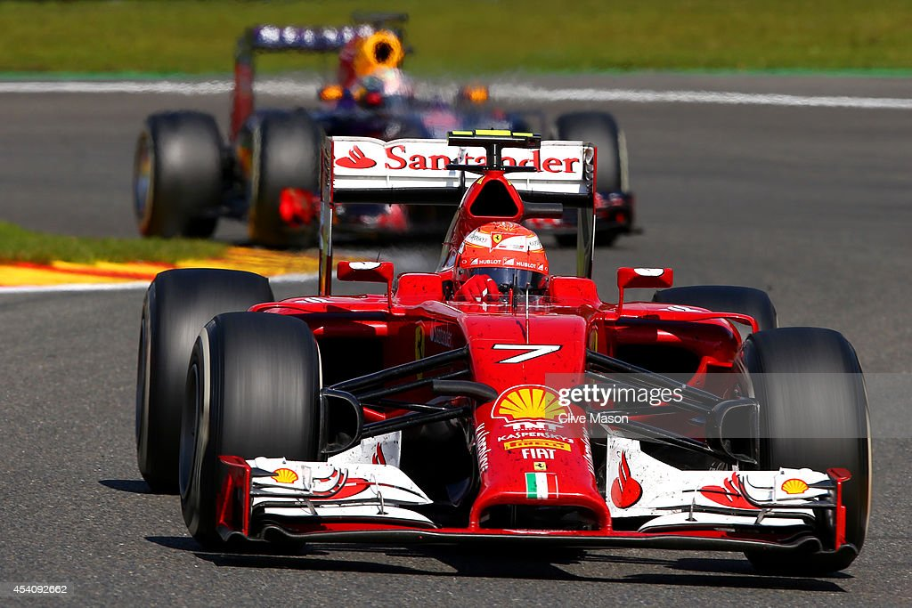 Kimi Raikkonen of Finland and Ferrari drives during the Belgian Grand Prix at Circuit de Spa-Francorchamps on August 24, 2014 in Spa, Belgium.