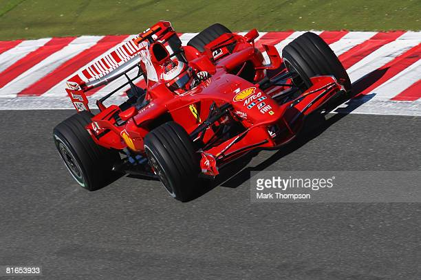 Kimi Raikkonen of Finland and Ferrari drives during the final practice session prior to qualifying for the French Formula One Grand Prix at the...