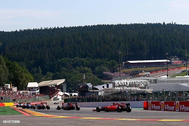 Kimi Raikkonen of Finland and Ferrari drives during the Formula One Grand Prix of Belgium at Circuit de SpaFrancorchamps on August 23 2015 in Spa...