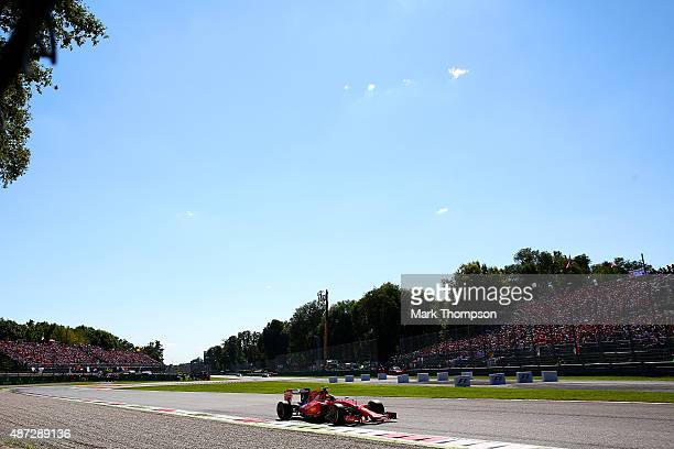 Kimi Raikkonen of Finland and Ferrari drives during the Formula One Grand Prix of Italy at Autodromo di Monza on September 6 2015 in Monza Italy