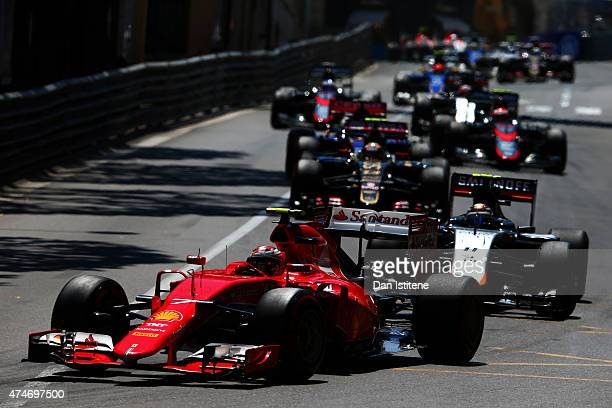 Kimi Raikkonen of Finland and Ferrari drives during the Monaco Formula One Grand Prix at Circuit de Monaco on May 24 2015 in MonteCarlo Monaco