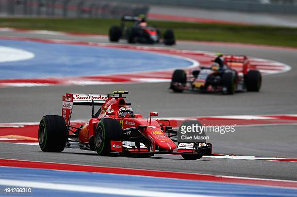 Kimi Raikkonen of Finland and Ferrari drives during the United States Formula One Grand Prix at Circuit of The Americas on October 25 2015 in Austin...