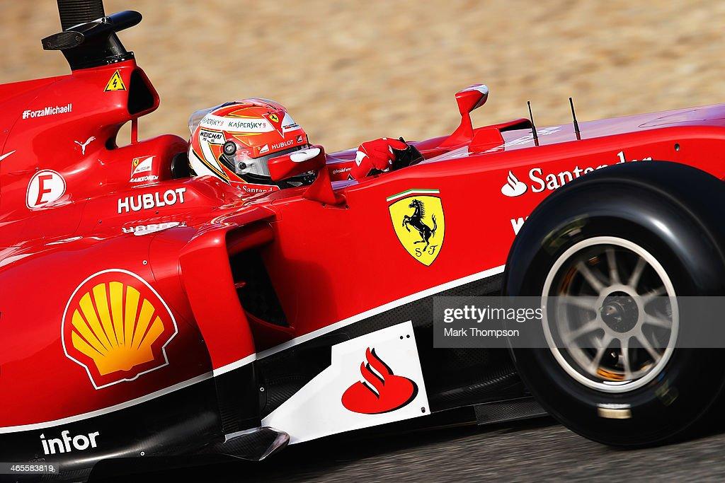 <a gi-track='captionPersonalityLinkClicked' href=/galleries/search?phrase=Kimi+Raikkonen&family=editorial&specificpeople=201904 ng-click='$event.stopPropagation()'>Kimi Raikkonen</a> of Finland and Ferrari drives the new F14T during day one of Formula One Winter Testing at the Circuito de Jerez on January 28, 2014 in Jerez de la Frontera, Spain.