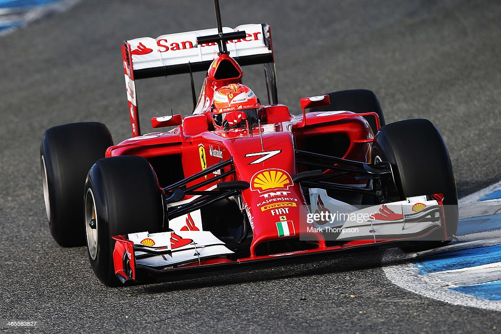 Kimi Raikkonen of Finland and Ferrari drives the new F14T during day one of Formula One Winter Testing at the Circuito de Jerez on January 28 2014 in...
