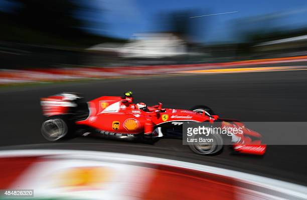 Kimi Raikkonen of Finland and Ferrari in action during final practice for the Formula One Grand Prix of Belgium at Circuit de SpaFrancorchamps on...